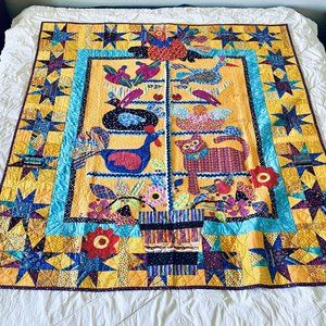 """Custom Quilt """"Feather Tree"""" Bright Colorful Yellow"""